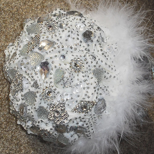 Silver & White Brooch Bouquet