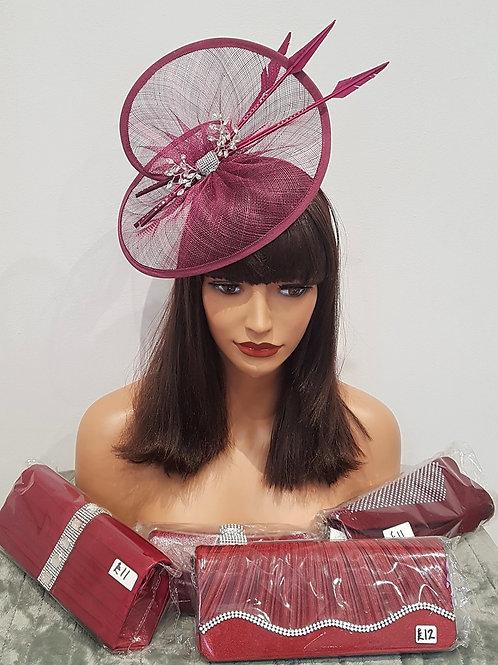 Burgundy Deep Pink Hatinator with Rhinestone Jewels on a band