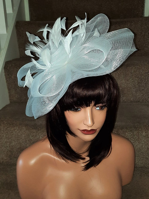 Brilliant White Crin Fascinator on Band with floaty coque feathers31721