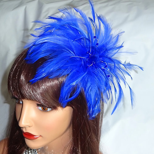 Cobalt Blue Feather Fascinator comb with scrystals 998761