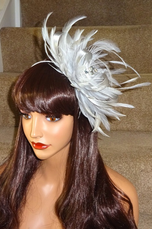 Light Silver Feather Fascinator Band with Jewel Centre 7474859
