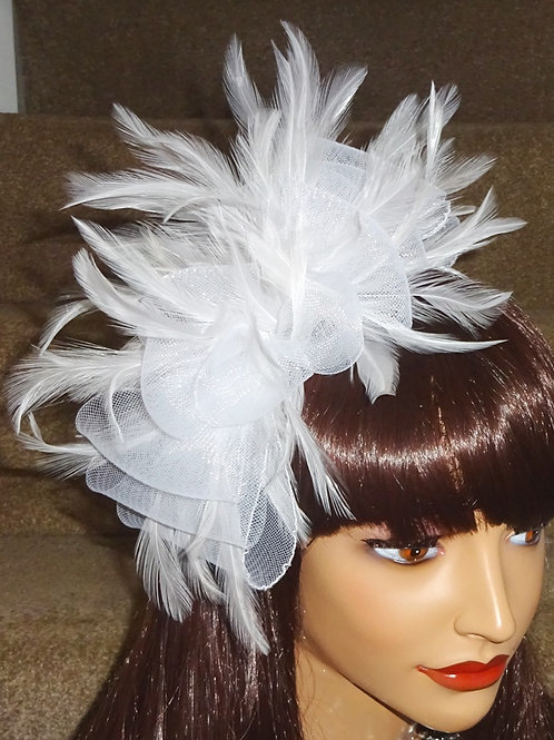 White Crin sparkly Fascinator on thin Band 278889