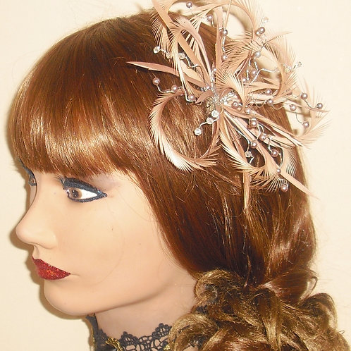 Nude / Salmon Looped Fascinator comb with crystals