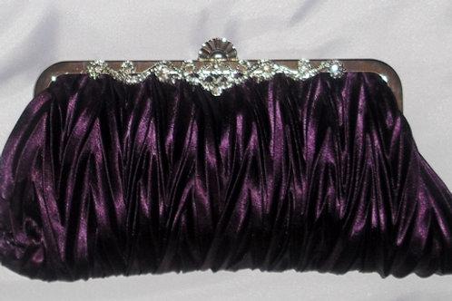 Aubergine / Purple Satin Clutch Bag 3789274