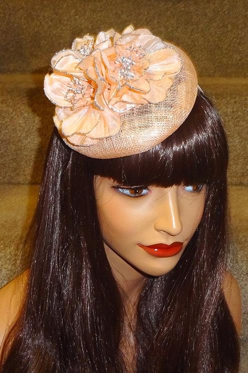 Blush Smartie Hat Fascinator with silver sparkle