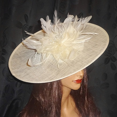 Large Cream Ivory Hat with Pearl beading and sparkle on band