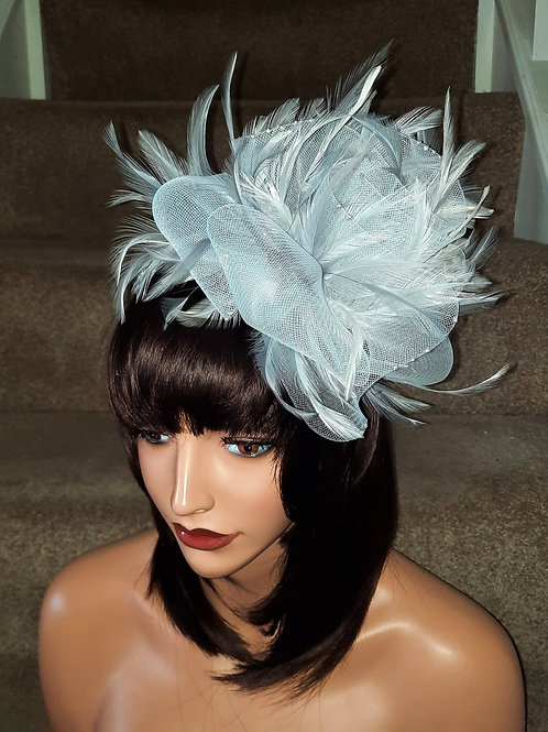 White & Silver Fascinator on band with silver pearlescent dots
