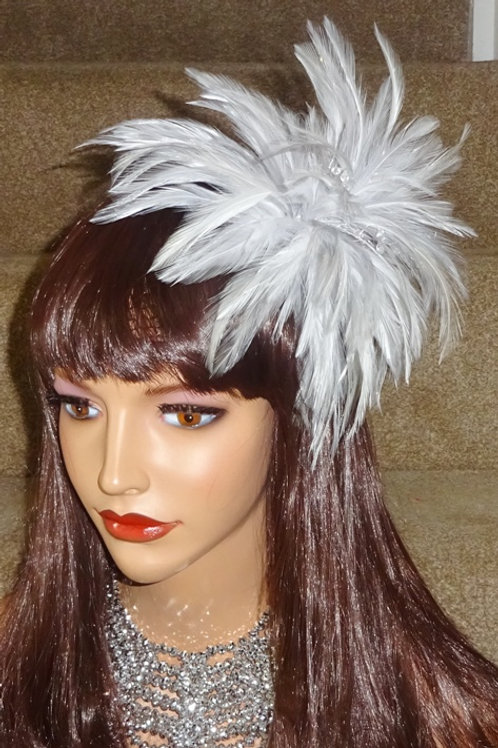 Light Silver & White Feather Fascinator Comb 109998
