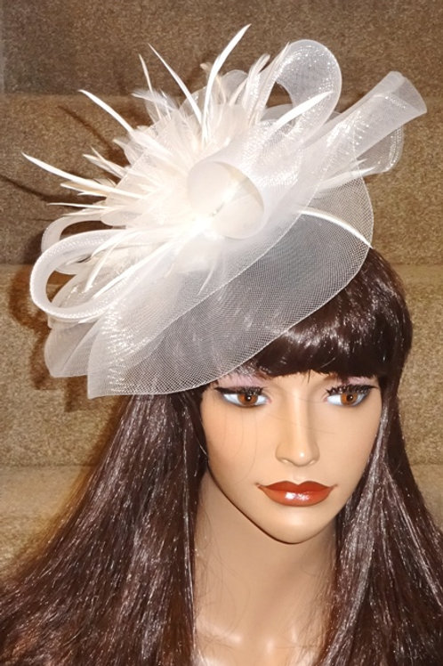 White Crin Fascinator Hat on band with silver sparkle 2325235