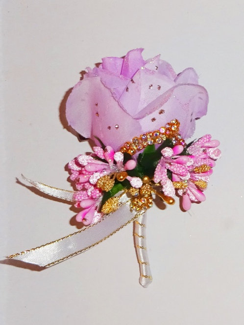 Pink Buttonhole Corsage with pin and clip
