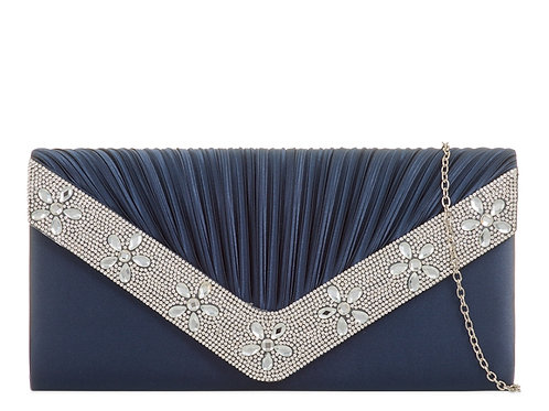 Large Blue & Silver Jewelled Clutch Bag 989698