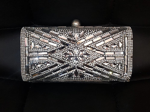 Hard cased Silver Gunmetal Jewelled Bag with smooth black back