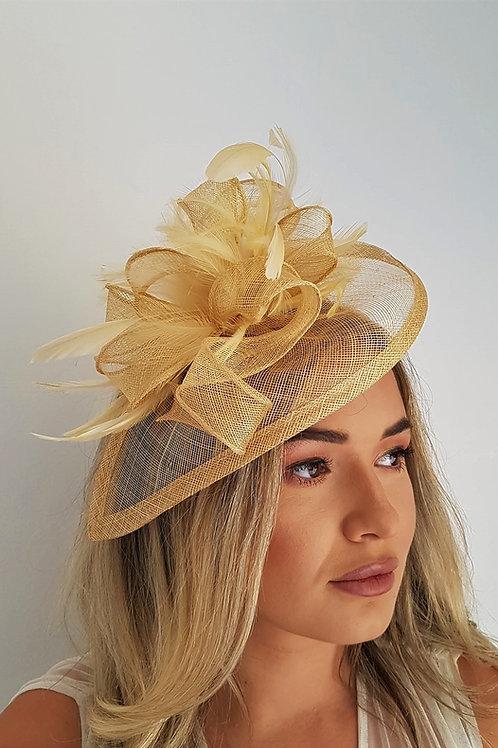 Gold Teardrop Fascinator Hat on a band 1741133