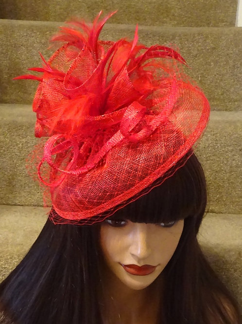Red Sinamay Fascinator Hat with veiling 12347