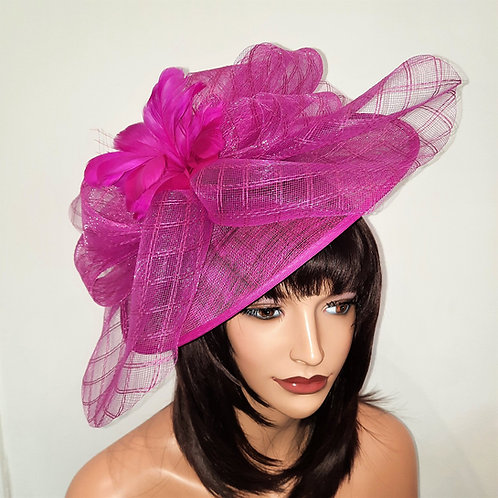 Large Hot Pink Hat with Crin and Feather Top mounted on to a band 100621