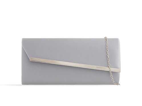 Silver clutch Bag with strap 100621