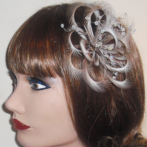 Light Brown Looped Fascinator comb with crystals