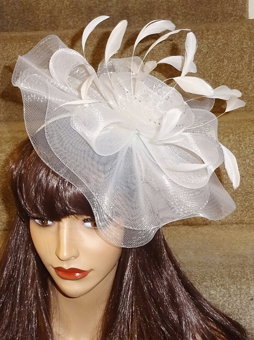 White Crin Fascinator Hat on band with silver sparkle 188856
