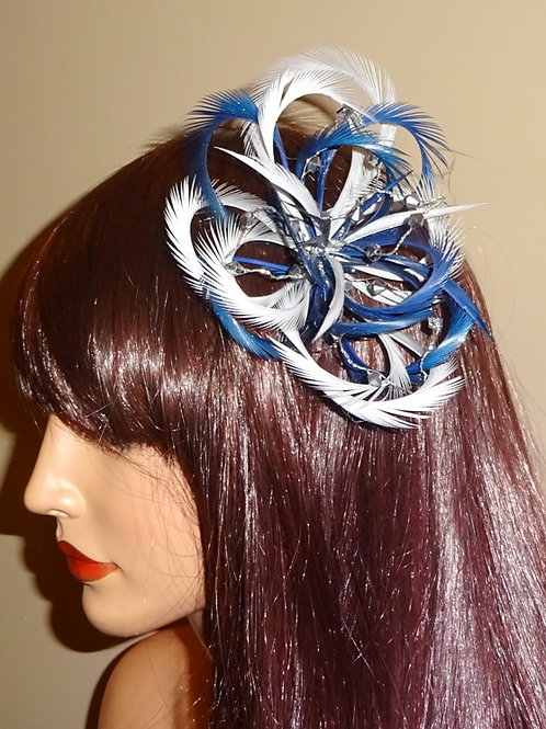 Navy Blue & Silver Loped Fascinator comb 616289