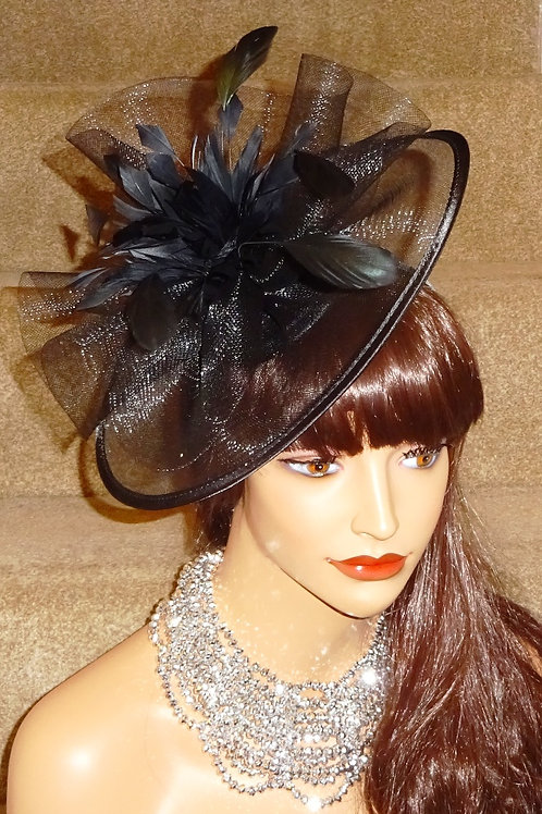 Black Sheer Fascinator Hat 198867