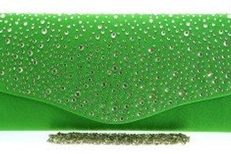 Large Green Diamante Clutch Bag