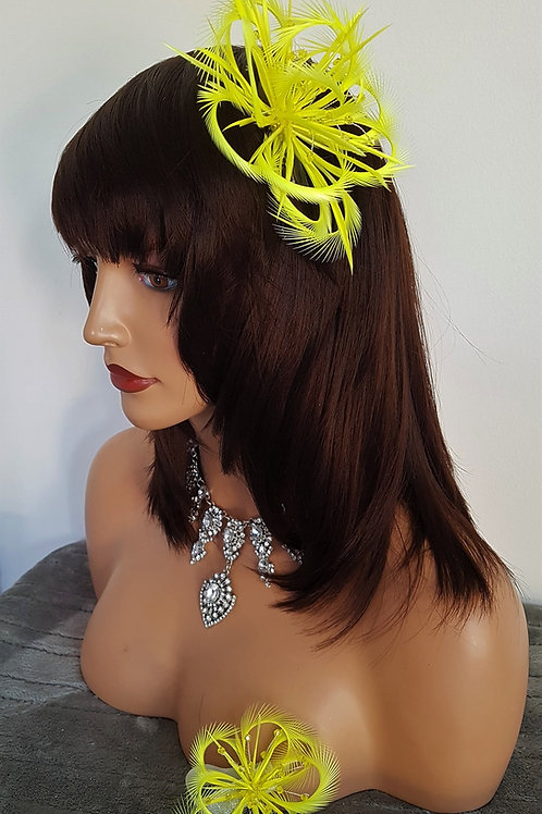 Bright Yellow Fascinator comb & matching Wrist Corsage with Crystals