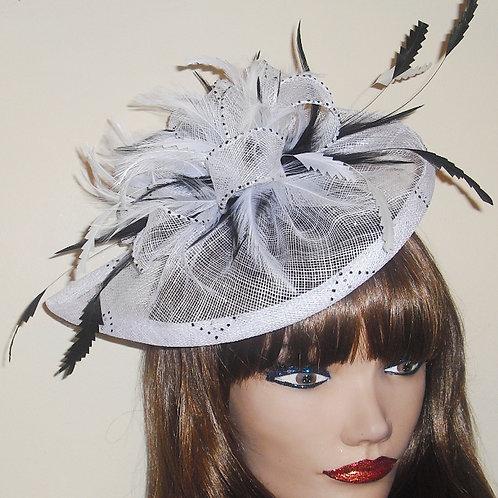 Black & Off White Teardrop Fascinator Hat