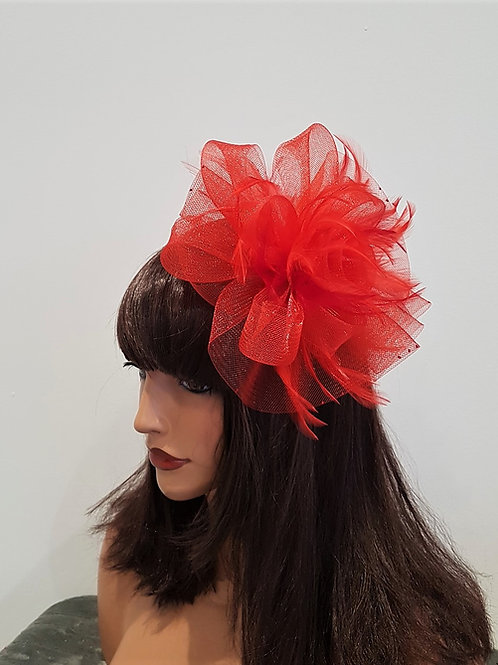 Red Crin Fascinator comb 19276