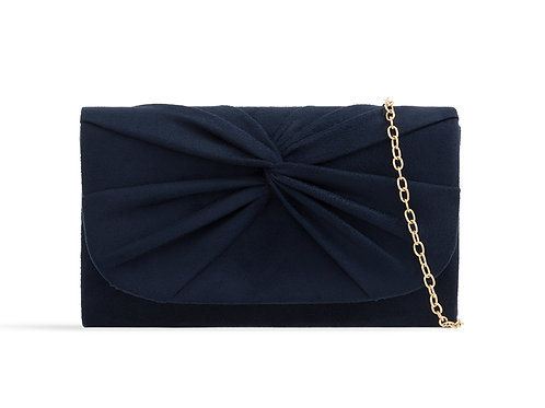 Small Navy suede effect clutch Bag with strap 100621