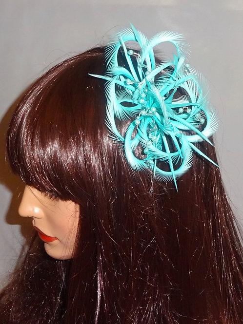 Aqua / Light Turquoise Looped Fascinator comb 714874