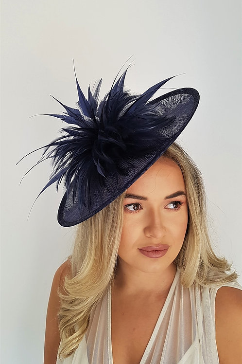 Navy Blue Saucer Hat on band with hand cut Arrow Feathers