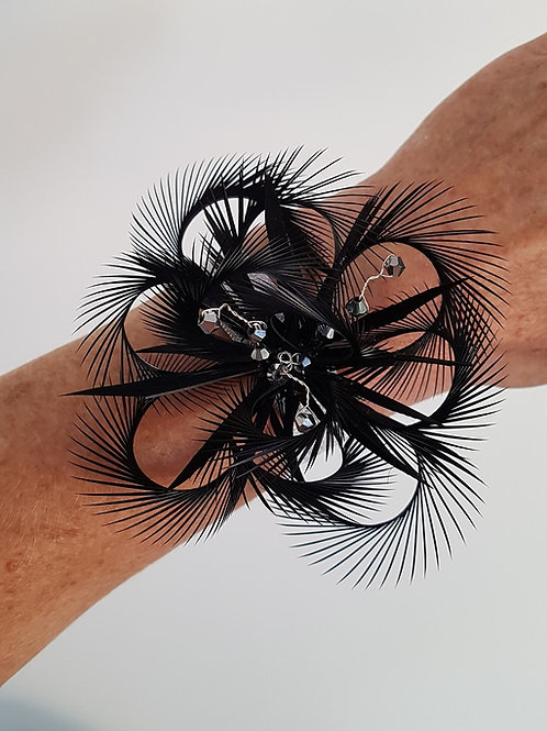 Black Looped Wrist Corsage ideal for weddings , Bridesmaids or Proms