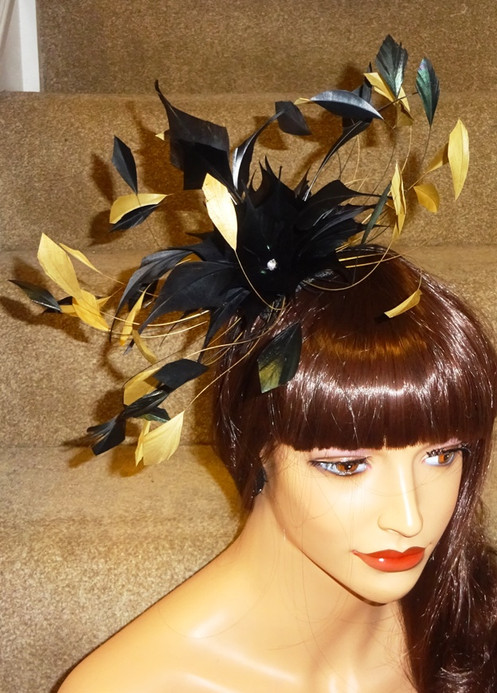 a89d2f6534494 Mustard Gold   Black Feather Fascinator Band 37373. £ 45.99. Please make  sure you are happy with the colour before purchasing as we are unable to  accept ...