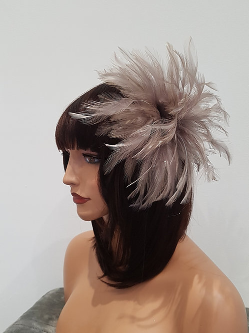 Taupe Feather Fascinator on a comb 212989
