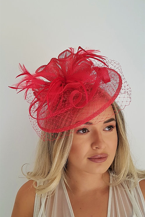 Watermelon Red Fascinator with veiling on a band