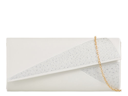 White Clutch Bag with diamante jewel detail 457896