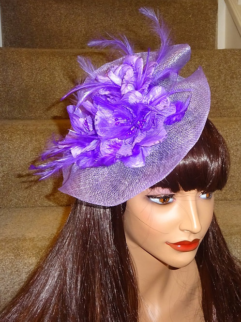 Lilac Sinamay Fascinator Hatinator Hat on Band 888899