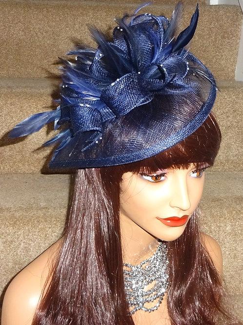 Navy Blue Teardrop Fascinator Hat on Band 398867