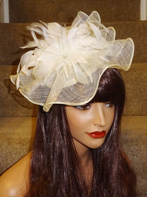 Cream Ivory Sinamay Fascinator Hatinator Hat on Band
