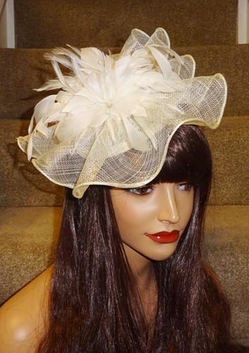 c58a38457abe8 Cream Ivory Sinamay Fascinator Hatinator Hat on Band