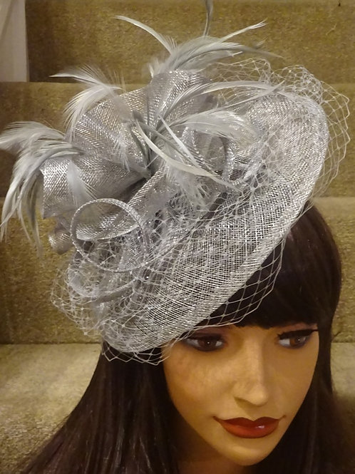 Silver Grey Sinamay Fascinator Hat on Band with sparkle 398878