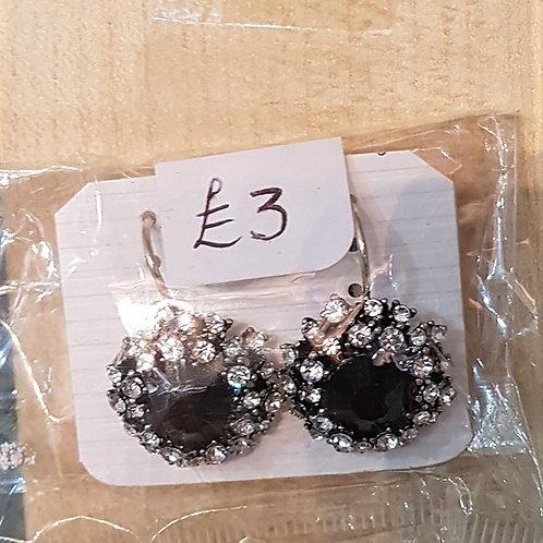 Black & Silver Rhinestone Jewelled Earrings (Pierced) 1910911