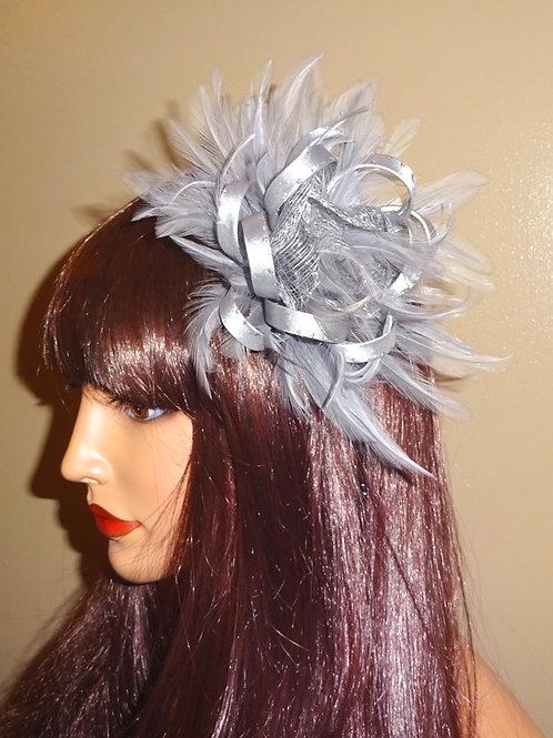 Silver Grey Ribbon Looped Fascinator 35623