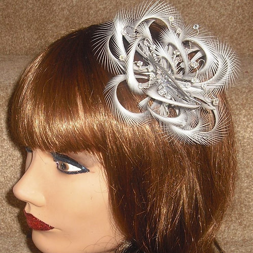 Silver Looped Hair Fascinator Comb 5259