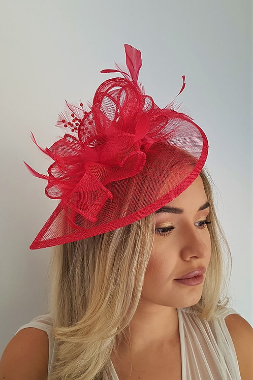 Watermelon Red Teardrop Fascinator Hat on a band with crystals