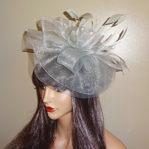 Silver Grey lightweight  Crin Fascinator Hat on comfortable Band 111818