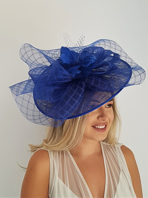 Large Cobalt Blue Sinamay Hat with crin top on a band