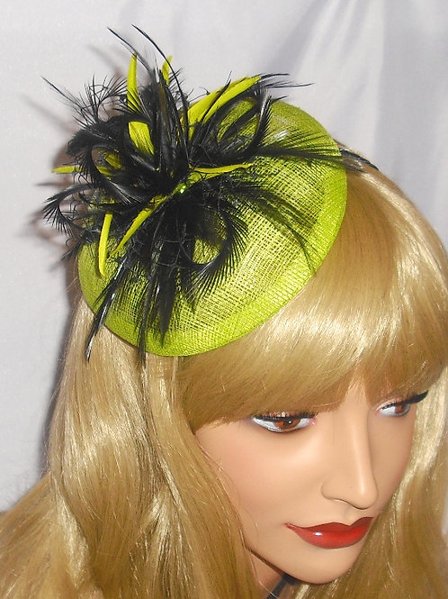 Vivid Yellow/Lime/Green Fascinator Hat on Band