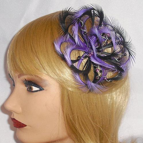 Magenta Purple & Black Looped Fascinator