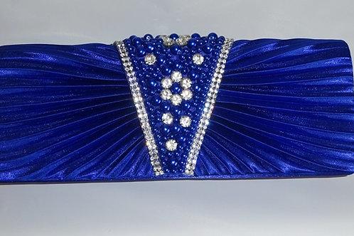 Cobalt Blue Clutch Bag with Pearls & diamante trim & detachable strap 898598